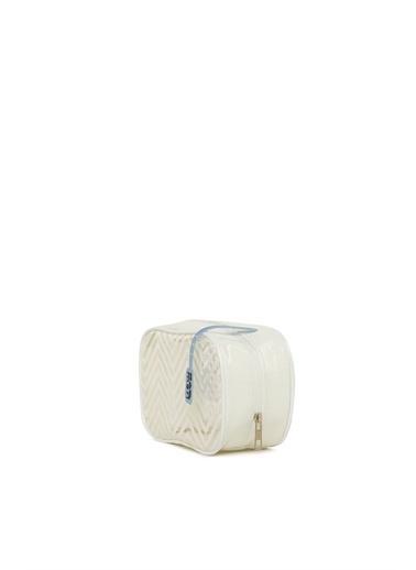 Bagmori  Kadın Simli Baskılı Şeffaf Makyaj Çantası M000006235 Beyaz